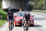 The breakaway featuring Louise Norman Hansen (DEN) Team Virtu Cycling, Maaike Boogaard (NED) BTC City Ljubljana and Rachel Neylan (AUS) Movistar Team Women during the 2018 Liege-Bastogne-Liege Femmes running 136km from Bastogne to Ans, Belgium. 22nd April 2018.<br /> Picture: ASO/Thomas Maheux | Cyclefile<br /> All photos usage must carry mandatory copyright credit (© Cyclefile | ASO/Thomas Maheux)