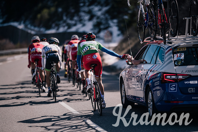 Arnaud Démare (FRA/Groupama-FDJ) dropping back for supplies<br /> <br /> 76th Paris-Nice 2018<br /> stage 6: Sisteron > Vence (198km)