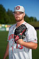 Chattanooga Lookouts pitcher Kohl Stewart (13) poses for a photo before a game against the Jackson Generals on April 27, 2017 at The Ballpark at Jackson in Jackson, Tennessee.  Chattanooga defeated Jackson 5-4.  (Mike Janes/Four Seam Images)