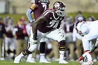 Texas A&M offensive lineman Germain Ifedi (74) on the line of scrimmage during second half of an NCAA football game, Saturday, October 11, 2014 in College Station, Tex. Ole Miss defeated Texas A&M 35-20. (Mo Khursheed/TFV Media via AP Images)