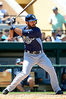 Tampa Bay Rays first baseman Sean Rodriguez #1 during a Spring Training game against the Detroit Tigers at Joker Marchant Stadium on March 29, 2013 in Lakeland, Florida.  (Mike Janes/Four Seam Images)