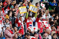 Japan fans celebrate a penalty try for their side - Mandatory byline: Rogan Thomson - 03/10/2015 - RUGBY UNION - Stadium:mk - Milton Keynes, England - Samoa v Japan - Rugby World Cup 2015 Pool B.