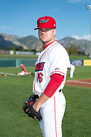 Orem Owlz pitcher Ben Morrison (16) poses for a photo prior to a Pioneer League game against the Ogden Raptors at the Home of the OWLZ on August 24, 2018 in Orem, Utah. The Ogden Raptors defeated the Orem Owlz by a score of 13-5. (Zachary Lucy/Four Seam Images)