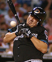 Arizona Diamondbacks' starting pitcher Albie Lopez is hit by a ball thrown by Philadelphia Phillies' starting pitcher Robert Person in the fifth inning Monday, Aug. 27, 2001 in Philadelphia. (AP Photo/Brad C. Bower)