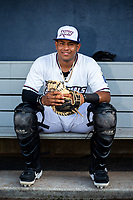 Northwest Arkansas Naturals catcher Meibrys Viloria (22) poses for a photo on May 16, 2019, at Arvest Ballpark in Springdale, Arkansas. (Jason Ivester/Four Seam Images)