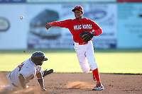 Batavia Muckdogs shortstop Yunier Castillo (7) during a game vs. the Mahoning Valley Scrappers at Dwyer Stadium in Batavia, New York June 29, 2010.  Mahoning Valley defeated Batavia 5-4.  Photo By Mike Janes/Four Seam Images