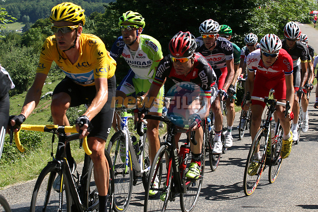 Yellow Jersey race leader Bradley Wiggins (GBR) Sky Procycling with Cadel Evans (AUS) BMC Racing Team on his wheel during Stage 10 Macon - Bellegarde-sur-Valserine during the 99th edition of the Tour de France, 13th July 2012 (Photo by Thomas van Bracht/NEWSFILE)