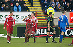 Brechin v St Johnstone....12.03.11  Scottish Cup Quarter Final.Craig Molloy holds his head after the ref Steve Conroy orders his penelty kick to be re-taken after Brechin players encroached. The penalty was re-taken by Rory McAllister (left of pic).Picture by Graeme Hart..Copyright Perthshire Picture Agency.Tel: 01738 623350  Mobile: 07990 594431