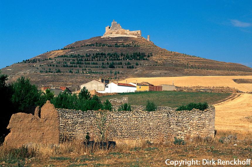 Castrojeriz, Burghügel, Kastilien-León, Spanien..