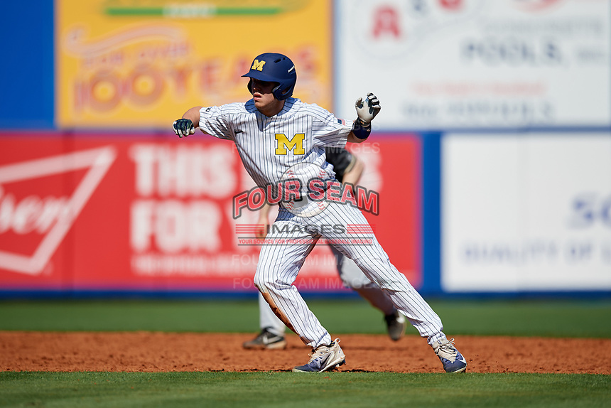 Michigan Wolverines designated hitter Dominic Clementi (13) leads off second base during a game against Army West Point on February 18, 2018 at Tradition Field in St. Lucie, Florida.  Michigan defeated Army 7-3.  (Mike Janes/Four Seam Images)