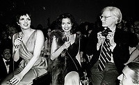 Minelli Jagger Warhol6870.JPG<br /> New York, NY 1978 FILE PHOTO<br /> Liza Minelli, Bianca Jagger, Andy Warhol<br /> Studio 54<br /> Digital photo by Adam Scull-PHOTOlink.net<br /> ONE TIME REPRODUCTION RIGHTS ONLY<br /> NO WEBSITE USE WITHOUT AGREEMENT<br /> 718-487-4334-OFFICE  718-374-3733-FAX