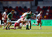 24th April 2021; Brentford Community Stadium, London, England; Gallagher Premiership Rugby, London Irish versus Harlequins; Curtis Rona of London Irish tackled by Alex Dombrandt of Harlequins