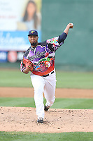 Luiz Gohara (45) of the Everett AquaSox pitches during a game against the Spokane Indians at Everett Memorial Stadium on July 25, 2015 in Everett, Washington. Spokane defeated Everett, 10-1. (Larry Goren/Four Seam Images)