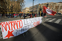 "Rome, Italy. 27th Mar, 2021. Today, Housing Rights Movements, Citizens, Associations, Trade Unions, extra-parliamentary Political Parties, State School and University students, held a demonstration outside the Ministry of Infrastructures, near Porta Pia, to urgently call the Italian Government to do more and quickly to properly support people after one year of the ongoing pandemic Covid-19 / Coronavirus, to create a National Basic Income, to build new public housing estates and provide to the people the one which are left empty, to stop the rent of houses and shops, to increase investment in the SSN (Italian National Health Service), to stop evictions. Protesters call the Government, the Lazio Region, and the Mayor of Rome to give structural answers to longstanding problems linked to austerity and precarious work, such as invisibility, poverty, black markets, ""caporalato"" (illegal hiring), housing crisis, citizenship, social and economic exclusion and exploitation. Around 4 PM, a delegation of protesters was received by the Infrastructures Undersecretary, Giancarlo Cancelleri (Five Star Movement), with whom they had a two-hour meeting and the promise to do something to solve the issues protesters have raised."