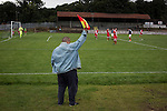 Vale of Leven 3 Ashfield 4, 03/09/2016. Millburn Park, West of Scotland League Central District Second Division. One of the backroom staff acting as a lineman at Millburn Park, Alexandria, as Vale of Leven (in blue) hosted Ashfield in a West of Scotland League Central District Second Division Junior fixture. Vale of Leven were one of the founder members of the Scottish League in 1890 and remained part of the SFA and League structure until 1929 when the original club folded, only to be resurrected as a member of the Scottish Junior Football Association after World War II. They lost the match to Ashfield by 4-3, having led 3-1 with 10 minutes remaining. Photo by Colin McPherson.