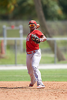 GCL Cardinals third baseman Starlin Balbuena (46) throws to first during the first game of a doubleheader against the GCL Marlins on August 13, 2016 at Roger Dean Complex in Jupiter, Florida.  GCL Cardinals defeated GCL Marlins 4-2 in a continuation of a game originally started on August 8th.  (Mike Janes/Four Seam Images)