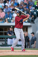 Jordan Danks (33) of the Lehigh Valley IronPigs at bat against the Charlotte Knights at BB&T BallPark on May 30, 2015 in Charlotte, North Carolina.  The IronPigs defeated the Knights 1-0.  (Brian Westerholt/Four Seam Images)