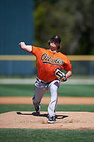 Baltimore Orioles pitcher Matthias Dietz (46) delivers a pitch during a minor league Spring Training game against the Minnesota Twins on March 17, 2017 at the Buck O'Neil Baseball Complex in Sarasota, Florida.  (Mike Janes/Four Seam Images)
