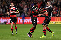 1st May 2021; Bankwest Stadium, Parramatta, New South Wales, Australia; A League Football, Western Sydney Wanderers versus Sydney FC; Mitch Duke of Western Sydney Wanderers is congratulated by Bruce Kamau of Western Sydney Wanderers  after scoring to make it 2-0 in the 16th minute