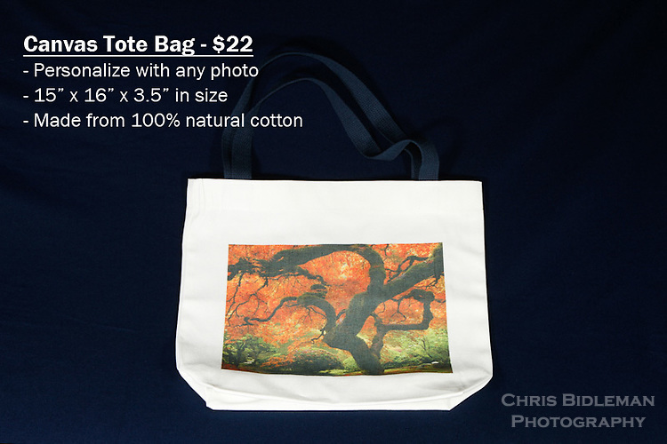 """Canvas Tote Bag with custom photo - Have any photo from Chris Bidleman Photography collection on your bag.  Measures 15"""" x 16"""" x 3.5"""" with blue straps.<br /> <br /> These on-the-go canvas bags are practical for business and personal use. Customize your tote bags with your favorite photos from Chris Bidleman Photography.  These tote bags have so many uses, it's hard to name them all! They are the perfect gift for mom, grandma or even a favorite teacher.  If you need a giveaway or present for your most loyal customers, then these custom tote bags are just perfect.  <br /> <br /> Want to go green? Then say goodbye to paper and plastic grocery bags and hello to these 100% cotton canvas tote bags.  They are durable and great for the environment."""