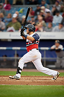 Syracuse Chiefs third baseman Jacob Wilson (19) follows through on a swing during a game against the Scranton/Wilkes-Barre RailRiders on June 14, 2018 at NBT Bank Stadium in Syracuse, New York.  Scranton/Wilkes-Barre defeated Syracuse 9-5.  (Mike Janes/Four Seam Images)