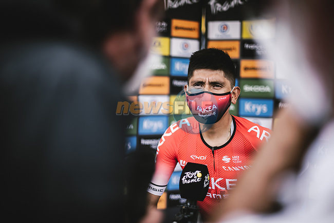 Nairo Quintana (COL) Team Arkea-Samsic interviewed before Stage 8 of the 2021 Tour de France, running 150.8km from Oyonnax to Le Grand-Bornand, France. 3rd July 2021.  <br /> Picture: A.S.O./Pauline Ballet | Cyclefile<br /> <br /> All photos usage must carry mandatory copyright credit (© Cyclefile | A.S.O./Pauline Ballet)