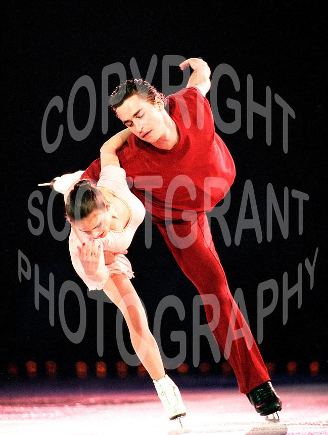 Ekaterina Gordeeva and Sergei Grinkov of Russia skate during an ice show in Ottawa, Canada. Photo copyright Scott Grant.