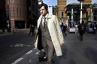 Dragan Pendic, self-employed, pictured outside Liverpool Street station on his way to a meeting in the City of London. The UK went into recession in the final quarter of 2008 as the City was hit hard by the global credit crunch.