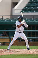 Detroit Tigers Riley Greene (13) bats during a Minor League Spring Training game against the Philadelphia Phillies on April 17, 2021 at Joker Marchant Stadium in Lakeland, Florida.  (Mike Janes/Four Seam Images)