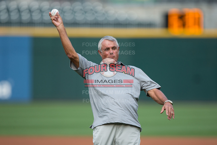 Former Major League player and manager Lou Piniella throws out a ceremonial first pitch prior to the International League game between the Syracuse Chiefs and the Charlotte Knights at BB&T BallPark on June 1, 2016 in Charlotte, North Carolina.  The Knights defeated the Chiefs 5-3.  (Brian Westerholt/Four Seam Images)