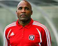 Chicago Fire head coach Denis Hamlett stands during the national anthem.  Chicago Fire defeated Toronto FC by the score of 2-1 at Toyota Park stadium, in Bridgeview, Illinois on Saturday, July 12, 2008.