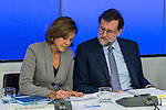 Spain's Maria Dolores de Cospedal and  Prime Minister, Mariano Rajoy presides the Popular Party's national executive committee in Madrid, Spain. January  14, 2017. (ALTERPHOTOS/Rodrigo Jimenez)