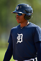 Detroit Tigers Jose Azocar (31) during practice before a minor league Spring Training game against the Houston Astros on March 30, 2016 at Tigertown in Lakeland, Florida.  (Mike Janes/Four Seam Images)