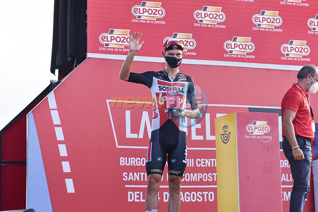 Andreas Kron (DEN) Lotto-Soudal most aggressive rider from yesterday's stage at sign on before Stage 20 of La Vuelta d'Espana 2021, running 202.2km from Sanxenxo to Mos, Spain. 4th September 2021.    <br /> Picture: Cxcling | Cyclefile<br /> <br /> All photos usage must carry mandatory copyright credit (© Cyclefile | Cxcling)