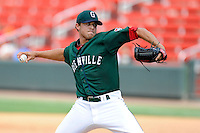 Relief pitcher Taylor Grover (16) of the Greenville Drive delivers a pitch in a game against the Asheville Tourists on Sunday, July 20, 2014, at Fluor Field at the West End in Greenville, South Carolina. Asheville won game one of a doubleheader, 3-1. (Tom Priddy/Four Seam Images)