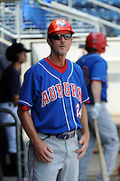 Auburn Doubledays manager Gary Cathcart (24) during game against the Staten Island Yankees at Richmond County Bank Ballpark at St.George on August 2, 2012 in Staten Island, NY.  Auburn defeated Staten Island 11-3.  Tomasso DeRosa/Four Seam Images