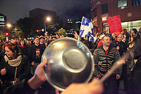 Protesters take part into a demonstration in front of the building where the students and the Quebec government negotiate in Quebec City Tuesday May 29, 2012. The students and the Quebec government meet for the second day in a row to try to solve a strike over tuition fee that goes for more than 100 days.<br /> <br /> PHOTO :  Francis Vachon - Agence Quebec Presse