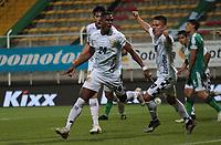 BOGOTÁ- COLOMBIA, 27-02-2021:Brayan Moreno de Boyacá Chicó celebra después de anotar  el gol de su equipo durante partido por la fecha 10 entre La Equidad y Boyacá Chicó  como parte de la Liga BetPlay DIMAYOR 2021 jugado en el estadio  Metropolitano de Techo de la ciudad de Bogotá / Brayan Morenoof Boyaca Chico celebrates after scoring the goal of his team during match for the date 10  between La Equidad and Boyaca Chico BetPlay DIMAYOR League I 2021 played at  Metropolitano de Techo  stadium in Bogota city. Photo: VizzorImage / Felipe Caicedo / Staff