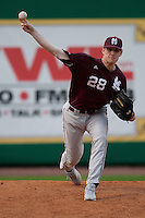 Mississippi State Bulldog starting pitcher Chris Straton #28 warms up before the NCAA baseball game against the LSU Tigers on March 16, 2012 at Alex Box Stadium in Baton Rouge, Louisiana. LSU defeated Mississippi State 3-2 in 10 innings. (Andrew Woolley / Four Seam Images)