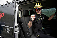 Adam Yates (GBR/Mitchelton-Scott) getting in the teamcar at the top of the Col de l'Iseran (HC/2751m/13km@7.3%) <br /> > where the race was stopped (at the top) because of landslides further up the road (after a severe hail storm in Tignes)<br /> <br /> Stage 19: Saint-Jean-de-Maurienne to Tignes (126km)<br /> 106th Tour de France 2019 (2.UWT)<br /> <br /> ©kramon