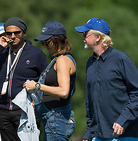 Chris Evans (TV / Radio) & pregnant wife Natasha Shishmanian during the BMW PGA PRO-AM GOLF at Wentworth Drive, Virginia Water, England on 23 May 2018. Photo by Andy Rowland.