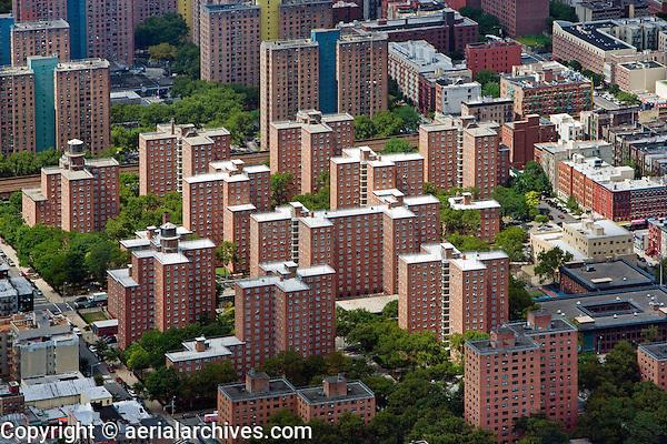 aerial photograph residential high rise buildings Harlem, Manhattan, New York City