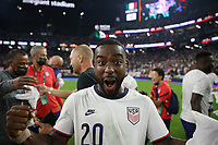 LAS VEGAS, NV - AUGUST 1: Shaq Moore #20 of the United States celebrates after a game between Mexico and USMNT at Allegiant Stadium on August 1, 2021 in Las Vegas, Nevada.