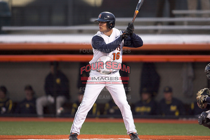 April 11, 2008:  University of Illinois Fighting Illini DH Daniel Webb (16) against the University of Michigan Wolverines at Illinois Field in Champaign, IL.  Photo by:  Chris Proctor/Four Seam Images