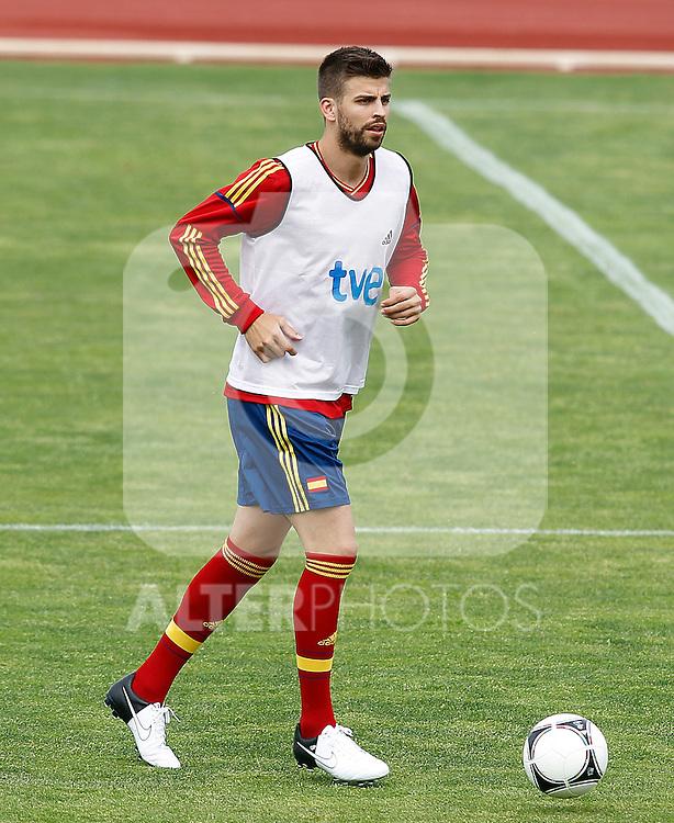 Spanish national football team Gerard Pique during training session.June 1,2012.(ALTERPHOTOS/Acero)
