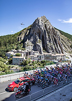 Peloton rolling out Sisteron for the official race start<br /> <br /> 107th Tour de France 2020 (2.UWT)<br /> (the 'postponed edition' held in september)<br /> Stage 4 from Sisteron to Orcières-Merlette 160,5km<br /> ©kramon