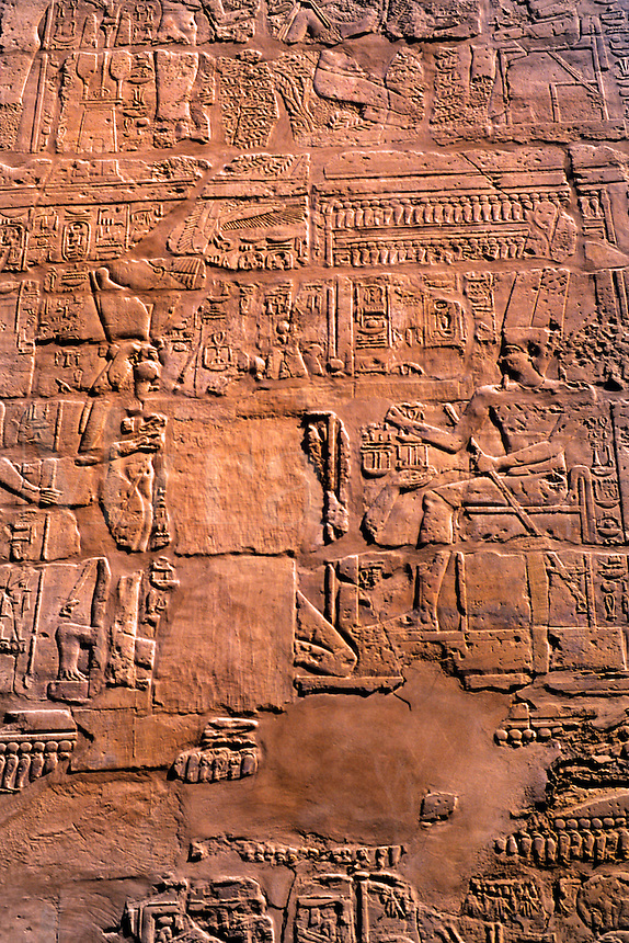Close up of artwork at ancient ruins of kings at the Temple of Karnak in Luxor Egypt