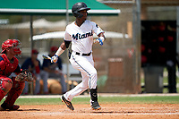 GCL Marlins Alvaro Montero (2) at bat during a Gulf Coast League game against the GCL Cardinals on August 12, 2019 at the Roger Dean Chevrolet Stadium Complex in Jupiter, Florida.  GCL Marlins defeated the GCL Cardinals 9-2.  (Mike Janes/Four Seam Images)