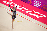 11 AUG 2012 - LONDON, GBR - Ganna Rizatdinova (UKR) of Ukraine performs her hoop routine during the 2012 London Olympic Games Individual All-Around Rhythmic Gymnastics final at Wembley Arena in London, Great Britain (PHOTO (C) 2012 NIGEL FARROW)
