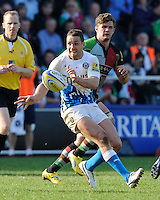 Olly Barkley of Bath Rugby during the Aviva Premiership match between Harlequins and Bath Rugby at The Twickenham Stoop on Saturday 24th March 2012 (Photo by Rob Munro)